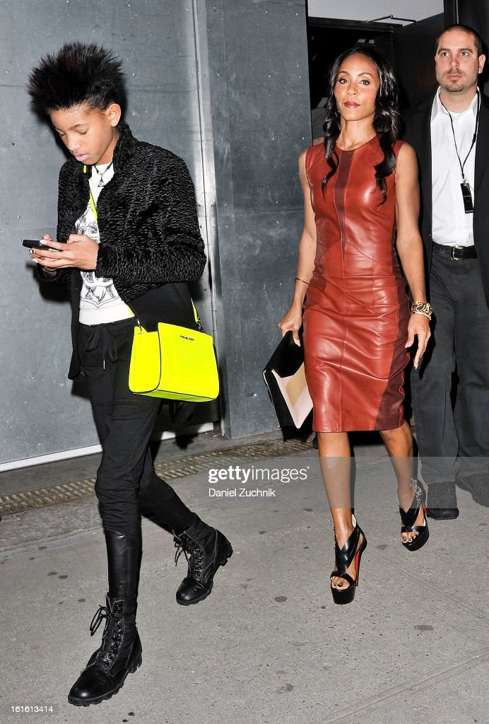 Willow Smith and Jada Pinkett Smith seen leaving the Narciso Rodriguez show on February 12, 2013 in New York City.