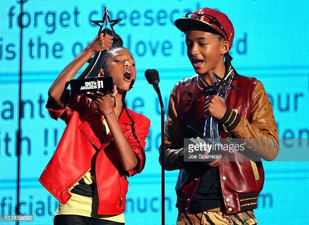 Willow Smith and Jaden Smith accept their awards onstage at the BET Awards '11 held at The Shrine Auditorium on June 26 2011 in Los Angeles California