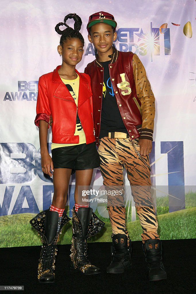 Willow Smith and Jaden Smith pose in the press room at the BET Awards '11 held at The Shrine Auditorium on June 26, 2011 in Los Angeles, California.