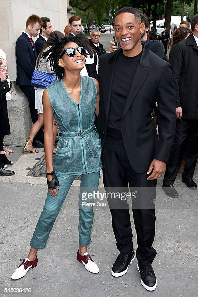 Willow Smith and Will Smith arrive at the Chanel Haute Couture Fall/Winter 20162017 show as part of Paris Fashion Week on July 5 2016 in Paris France