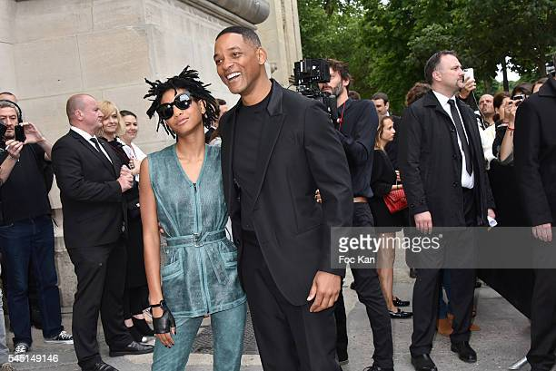Willow Smith and Will Smith attend the Chanel show during Paris Fashion Week Haute Couture Fall/Winter 20162017 on July 5 2016 in Paris France
