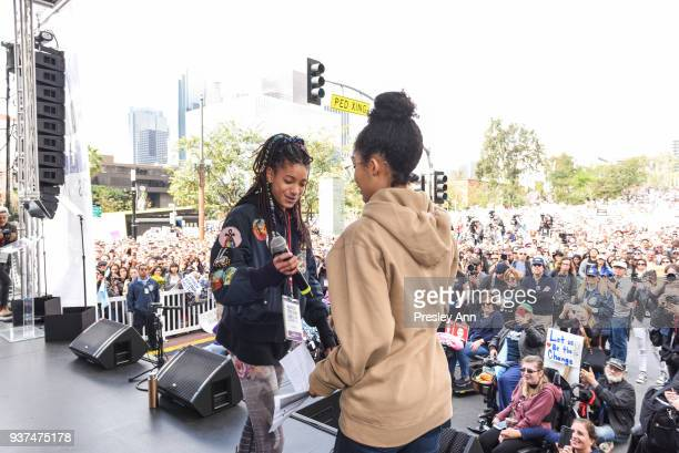 Willow Smith and Yara Shahidi attend March For Our Lives Los Angeles on March 24 2018 in Los Angeles California