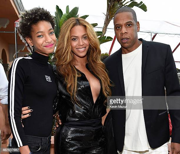 Willow Smith Beyonce and Jay Z attend the Roc Nation and Three Six Zero PreGRAMMY Brunch at Private Residence on February 7 2015 in Beverly Hills...
