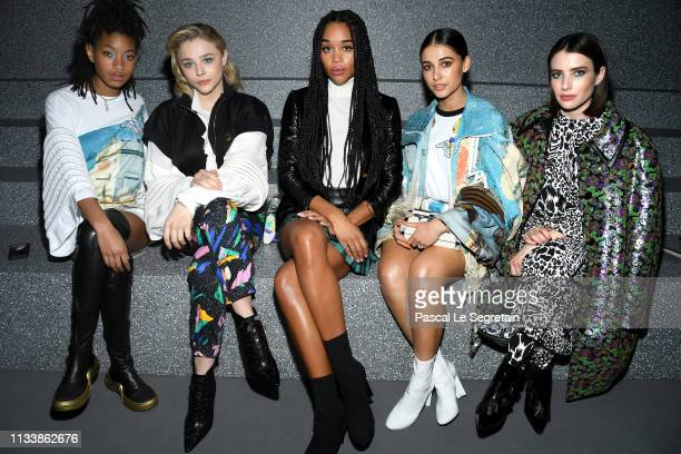 Willow Smith Chloe Grace Moretz Laura Harrier Naomi Scott and Emma Roberts attend the Louis Vuitton show as part of the Paris Fashion Week Womenswear...