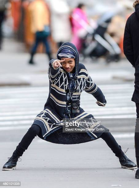 Willow Smith is seen flashing a peace sign on February 25 2013 in New York City