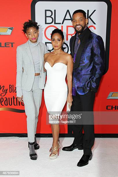 """Willow Smith, Jada Pinkett Smith, and Will Smith attend the BET's """"Black Girls Rock!"""" Red Carpet sponsored by Chevrolet at NJPAC – Prudential Hall on..."""