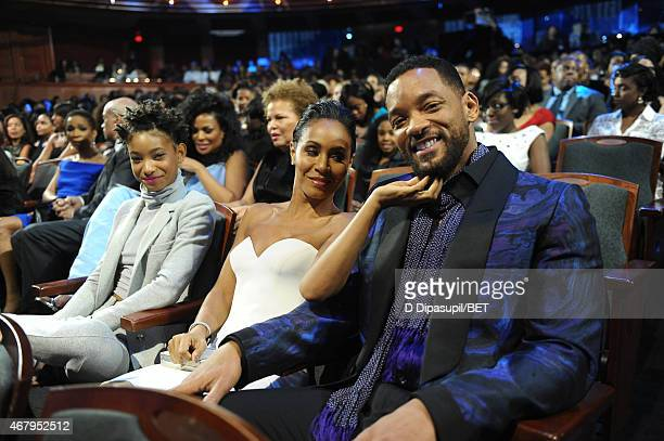 Willow Smith Jada Pinkett Smith and Will Smith attend the Black Girls Rock BET Special at NJPAC – Prudential Hall on March 28 2015 in Newark New...
