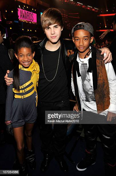 Willow Smith Justin Bieber and Jaden Smith in the audience at the 2010 American Music Awards held at Nokia Theatre LA Live on November 21 2010 in Los...