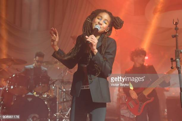 Willow Smith performs during Le Bal Surrealiste Dior during Haute Couture Spring Summer 2018 show as part of Paris Fashion Week on January 22 2018 in...