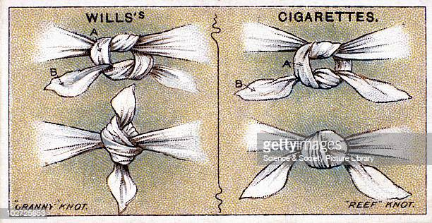 Wills' cigarette card demonstrating 'granny' and 'reef' knots Wills' cigarette card 1913 One of a series of 50 'First Aid' cigarette cards issued by...
