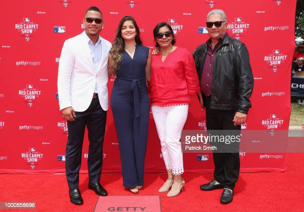 Willson Contreras of the Chicago Cubs and the National League and guests attend the 89th MLB AllStar Game presented by MasterCard red carpet at...