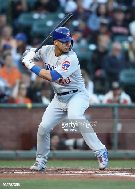 Willson Contreras of the Chicago Cubs bats against the San Francisco Giants in the second inning at ATT Park on July 10 2018 in San Francisco...
