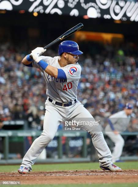 Willson Contreras of the Chicago Cubs bats against the San Francisco Giants in the fourth inning at ATT Park on July 10 2018 in San Francisco...
