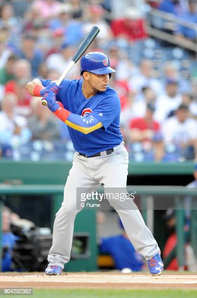 Willson Contreras of the Chicago Cubs bats against the Washington Nationals at Nationals Park on June 26 2017 in Washington DC