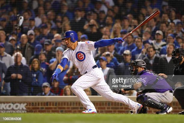 Willson Contreras of the Chicago Cubs bats during the National League Wild Card game against the Colorado Rockies at Wrigley Field on Tuesday October...