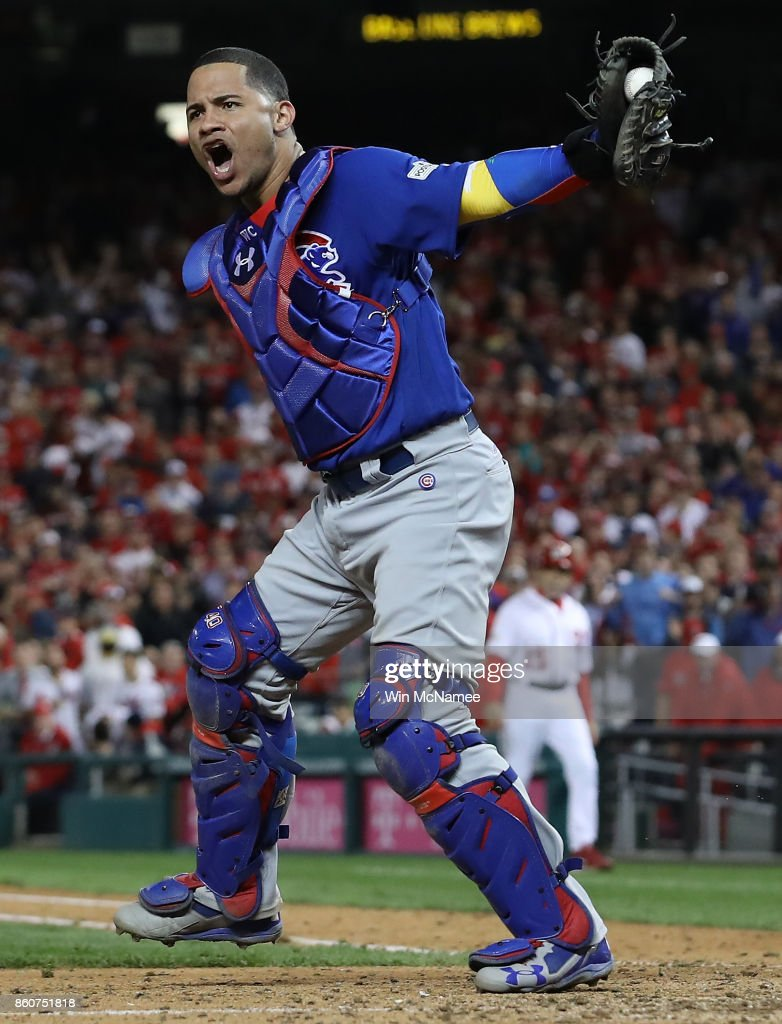 Willson Contreras #40 of the Chicago Cubs celebrates after the final out of Game 5 of the National League Divisional Series at Nationals Park on October 13, 2017 in Washington, DC. The Cubs won the game 9-8 and will advance to the National League Championship Series against the Los Angeles Dodgers.