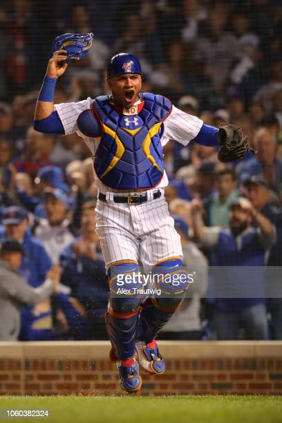 Willson Contreras of the Chicago Cubs celebrates during the National League Wild Card game against the Colorado Rockies at Wrigley Field on Tuesday...