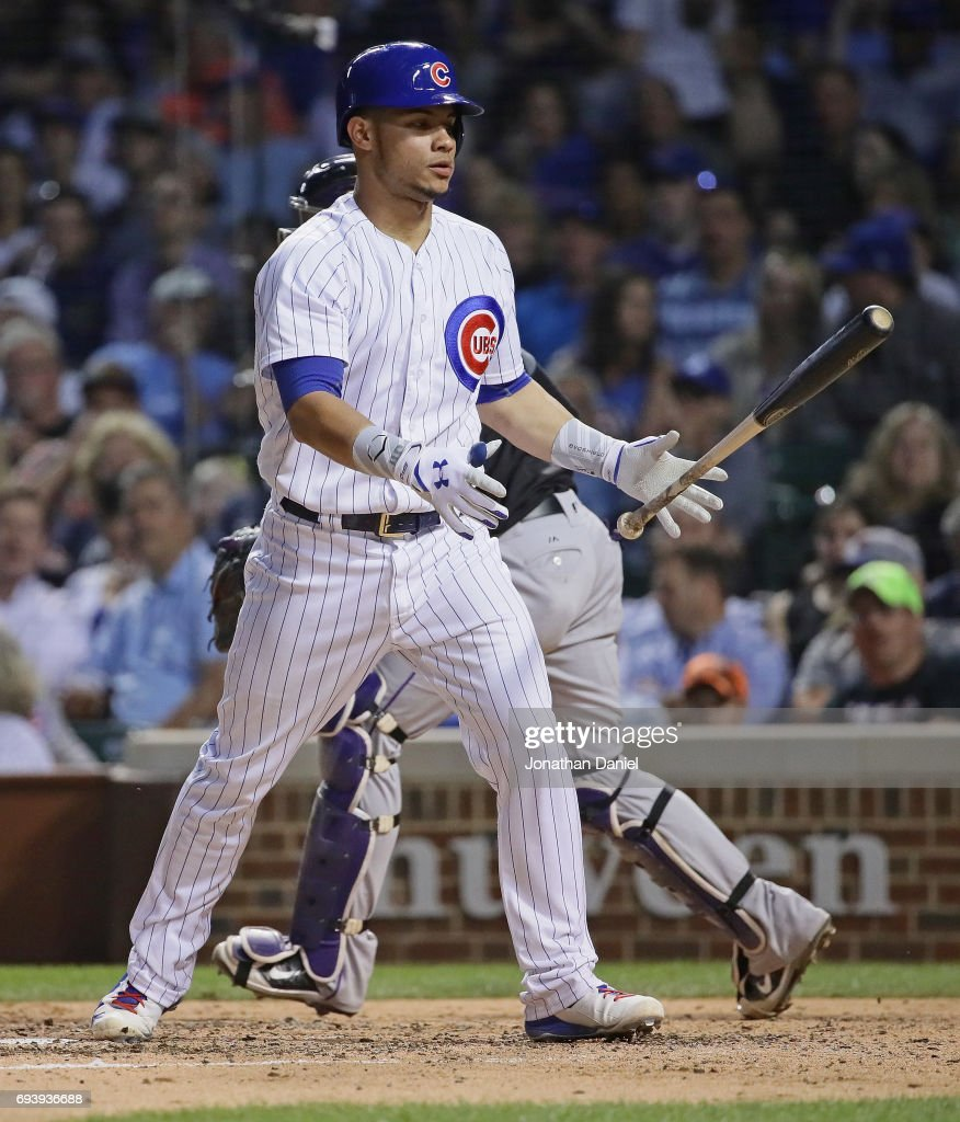 Willson Contreras #40 of the Chicago Cubs flips his bat after striking out against the Colorado Rockies at Wrigley Field on June 8, 2017 in Chicago, Illinois. The Rockies defeated the Cubs 4-1.