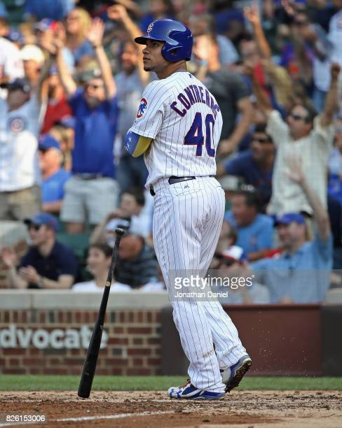 Willson Contreras of the Chicago Cubs follows the flight of his second home run of the game a three run shot in the 6th inning against the Arizona...