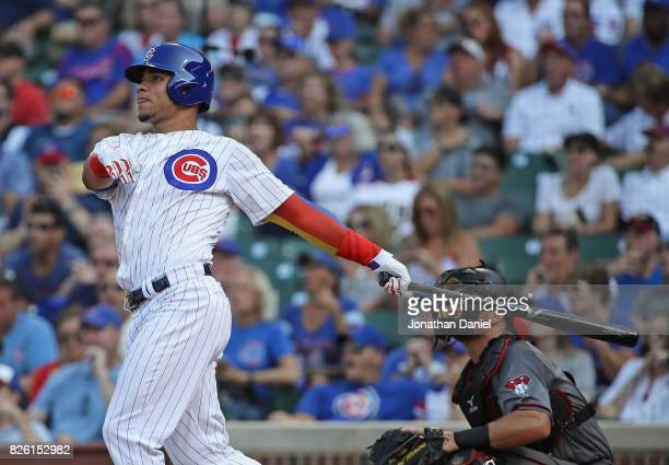 Willson Contreras of the Chicago Cubs hits his second home run of the game a three run shot in the 6th inning against the Arizona Diamondbacks at...