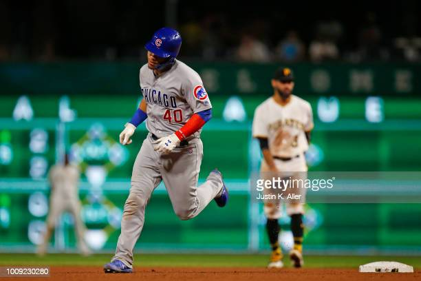 Willson Contreras of the Chicago Cubs rounds second after hitting a two run home run in the eighth inning against the Pittsburgh Pirates at PNC Park...