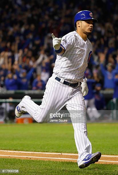 Willson Contreras of the Chicago Cubs runs the bases after hitting a solo home run in the fourth inning against the Los Angeles Dodgers during game...
