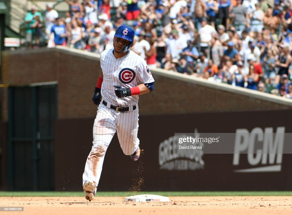 Willson Contreras #40 of the Chicago Cubs runs the bases after hitting a home run against the Detroit Tigers during the sixth inning on July 4, 2018 at Wrigley Field in Chicago, Illinois.
