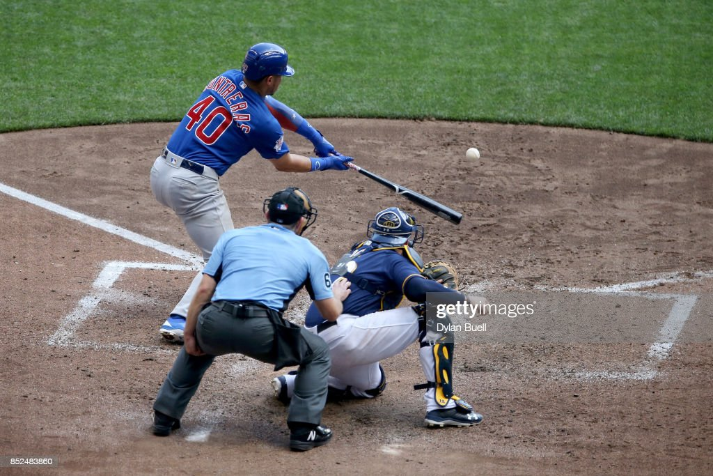Willson Contreras #40 of the Chicago Cubs strikes out in the sixth inning against the Milwaukee Brewers at Miller Park on September 23, 2017 in Milwaukee, Wisconsin.