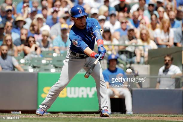 Willson Contreras of the Chicago Cubs swings at a pitch during the second inning of a game against the Chicago Cubs at Miller Park on July 30 2017 in...