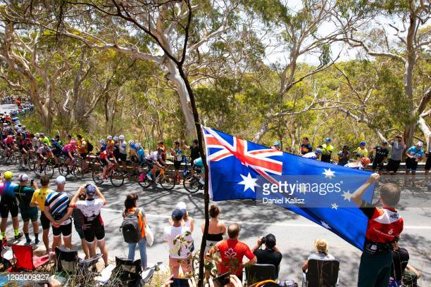 Willunga Hill / Fans / Public / Peloton / Australia Flag / during the 22nd Santos Tour Down Under 2020, Stage 6 a 151,5km stage from McLaren Vale to...