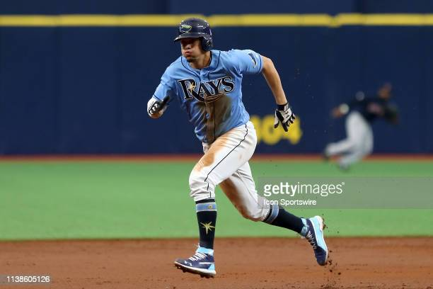 Willy Adames of the Rays hustles over to third base during the MLB regular season game between the Boston Red Sox and the Tampa Bay Rays on April 21...