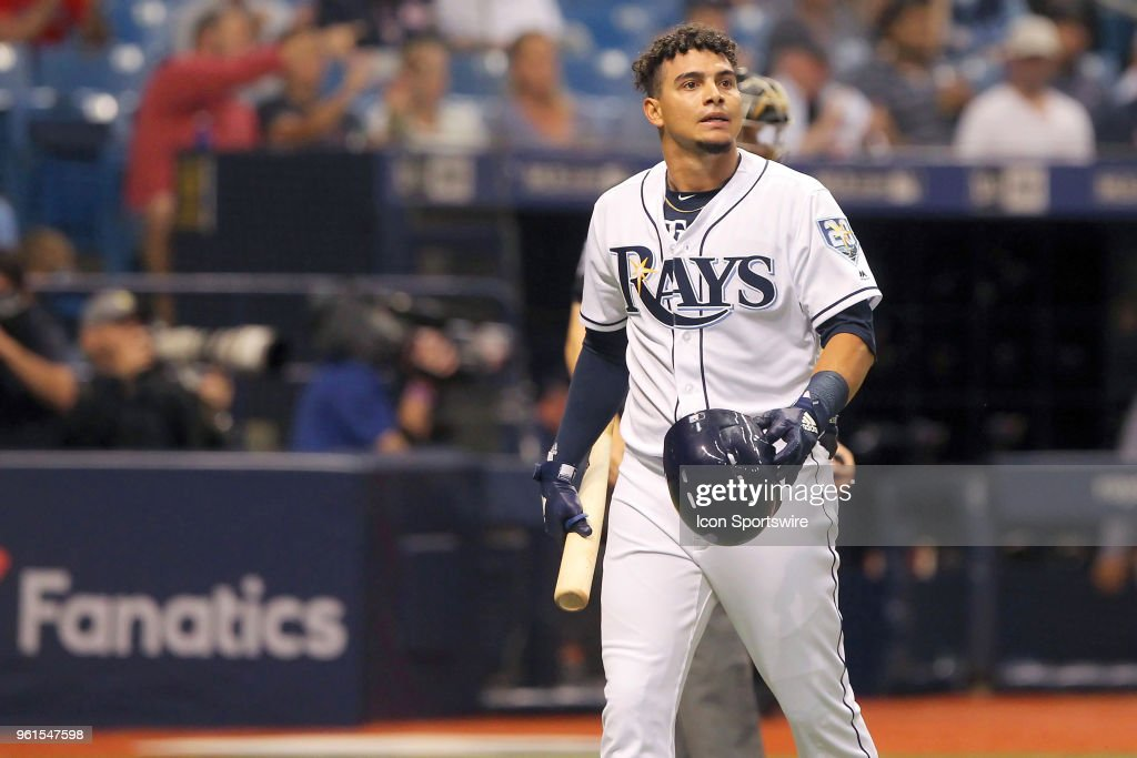 Willy Adames (1) of the Rays looks up towards the stands after striking out in his first major leage at bat during the MLB regular season game between the Boston Red Sox and the Tampa Bay Rays on May 22, 2018, at Tropicana Field in St. Petersburg, FL.