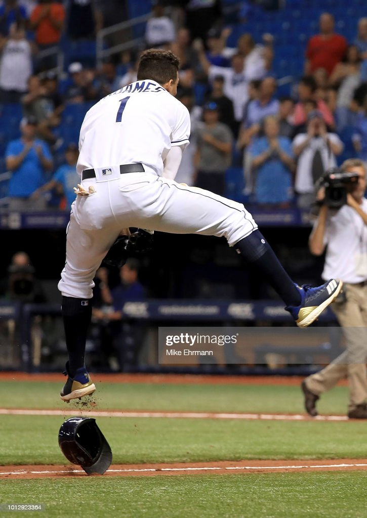 Willy Adames #1 of the Tampa Bay Rays celebrates a walk off home run in the ninth inning during a game against the Baltimore Orioles at Tropicana Field on August 7, 2018 in St Petersburg, Florida.