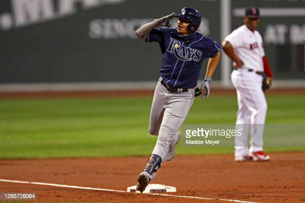 Willy Adames of the Tampa Bay Rays celebrates after hitting a home run against the Boston Red Sox during the second inning at Fenway Park on August...