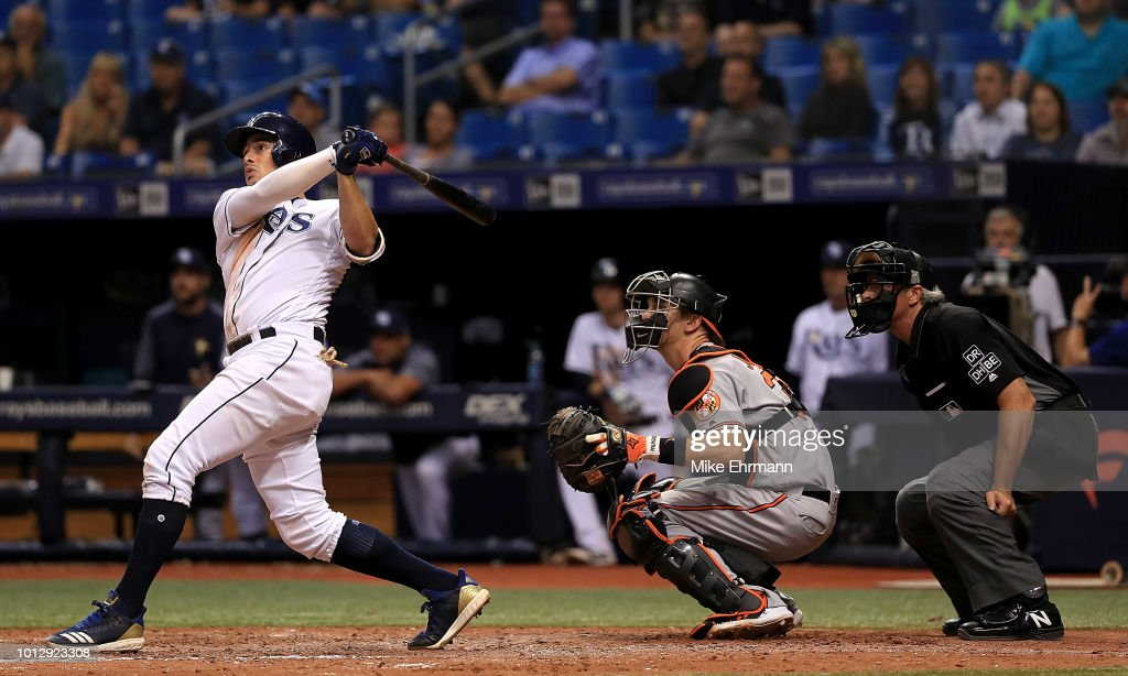 Willy Adames #1 of the Tampa Bay Rays hits a walk off home run in the ninth inning during a game against the Baltimore Orioles at Tropicana Field on August 7, 2018 in St Petersburg, Florida.