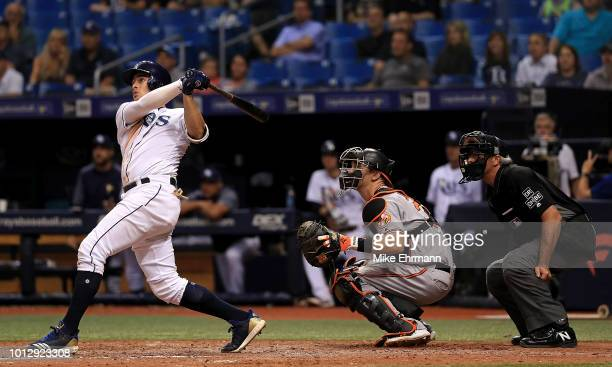 Willy Adames of the Tampa Bay Rays hits a walk off home run in the ninth inning during a game against the Baltimore Orioles at Tropicana Field on...