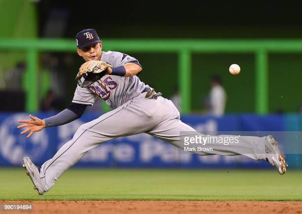 Willy Adames of the Tampa Bay Rays makes the catch in the third inning against the Miami Marlins at Marlins Park on July 2 2018 in Miami Florida