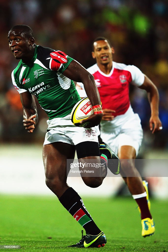 Willy Ambaka of Kenya makes a break during the grand final between England and Kenya during the 2013 Wellington Sevens at Westpac Stadium on February 2, 2013 in Wellington, New Zealand.