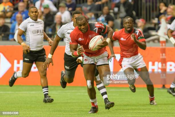 Willy Ambaka of Kenya runs the ball against Fiji during day 2 of the 2018 Canada Sevens Rugby Tournament on March 11 2018 at BC Place in Vancouver...