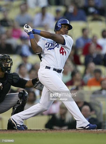 Willy Aybar of the Los Angeles Dodgers hits a double and gets an rbi in the first inning of the game against the Colorado Rockies on May 23 2006 at...