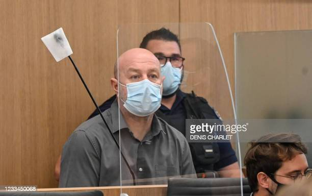 Willy Bardon sits in the defendant box before the opening of his appeal trial, after he was sentenced in December 2019 to thirty years' imprisonment...