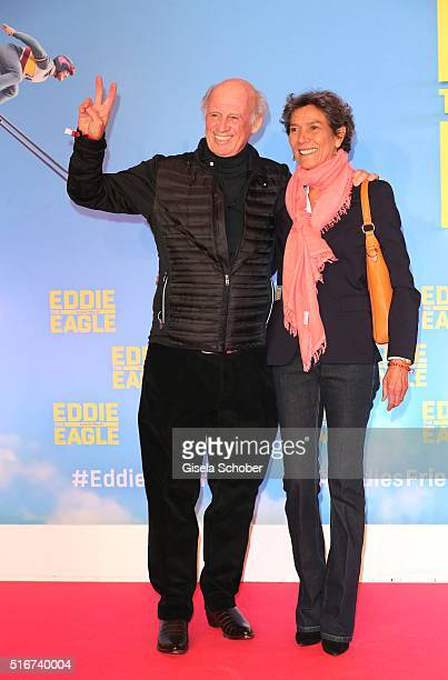 Willy Bogner and his wife Sonia Bogner during the 'Eddie the Eagle' premiere at Mathaeser Filmpalast on March 20 2016 in Munich Germany