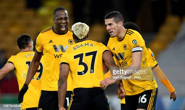 Willy Boly of Wolverhampton Wanderers celebrates after scoring a goal to make it 1-1 during the Premier League match between Wolverhampton Wanderers...