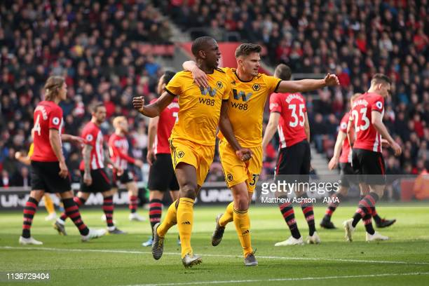 Willy Boly of Wolverhampton Wanderers celebrates after scoring a goal to make it 1-1 during the Premier League match between Southampton FC and...