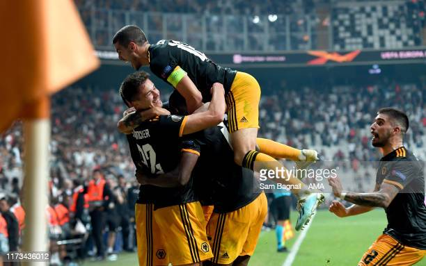 Willy Boly of Wolverhampton Wanderers celebrates after scoring a goal to make it 0-1 with Conor Coady of Wolverhampton Wanderers during to the UEFA...