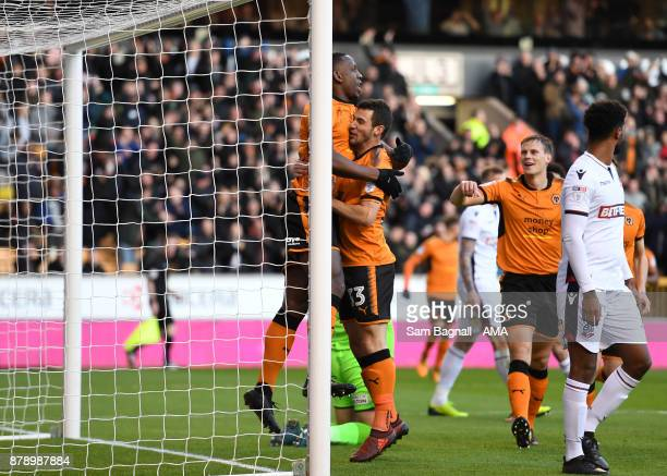 Willy Boly of Wolverhampton Wanderers celebrates after scoring a goal to make it 1-0 during the Sky Bet Championship match between Wolverhampton and...