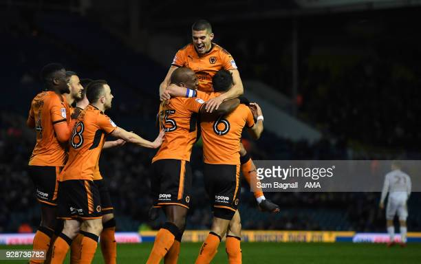 Willy Boly of Wolverhampton Wanderers celebrates after scoring a goal to make it 0-2 during the Sky Bet Championship match between Leeds United and...
