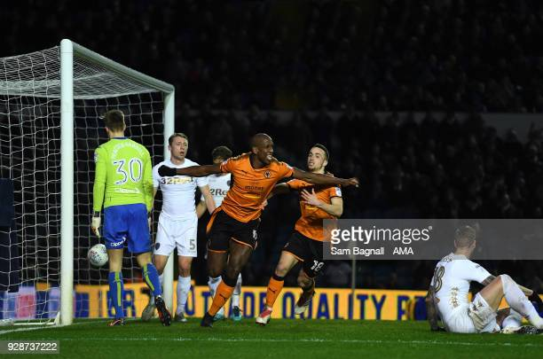 Willy Boly of Wolverhampton Wanderers celebrates after scoring a goal to make it 02 during the Sky Bet Championship match between Leeds United and...