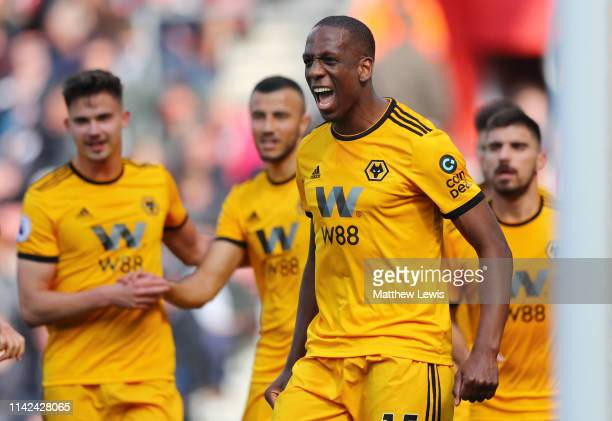 Willy Boly of Wolverhampton Wanderers celebrates after scoring his team's first goal during the Premier League match between Southampton FC and...