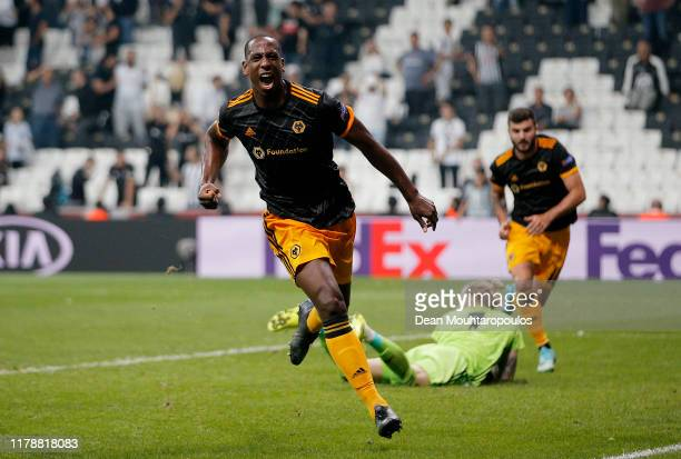 Willy Boly of Wolverhampton Wanderers celebrates after scoring his team's first goal during the UEFA Europa League group K match between Besiktas and...